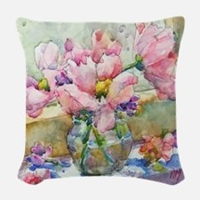 Pastels in Vase Woven Throw Pillow