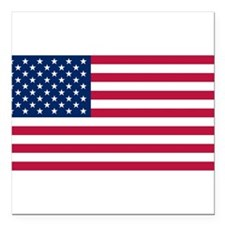 "American Flag Square Car Magnet 3"" x 3"""