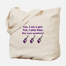 Yes I am a girl Play Bass Purple with bass Tote Ba