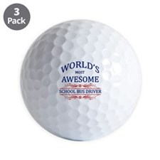 World's Most Awesome School Bus Driver Golf Ball