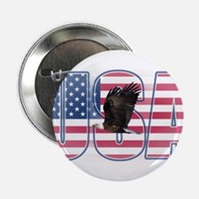"U.S.A. With Flag & Eagle 2.25"" Button"