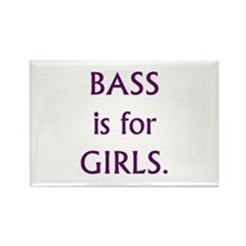 Bass is for girls purple text Rectangle Magnet