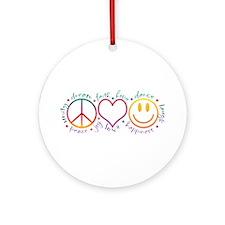 Peace Love Laugh Ornament (Round)