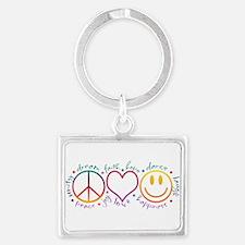 Peace Love Laugh Landscape Keychain