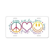 Peace Love Laugh Aluminum License Plate