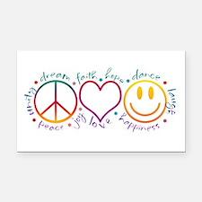 Peace Love Laugh Rectangle Car Magnet