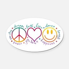 Peace Love Laugh Oval Car Magnet