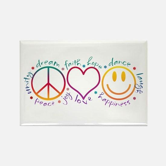 Peace Love Laugh Rectangle Magnet