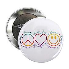 "Peace Love Laugh 2.25"" Button"