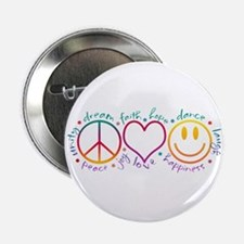 "Peace Love Laugh 2.25"" Button"