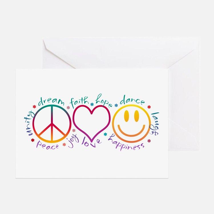 Peace Love Laugh Greeting Card