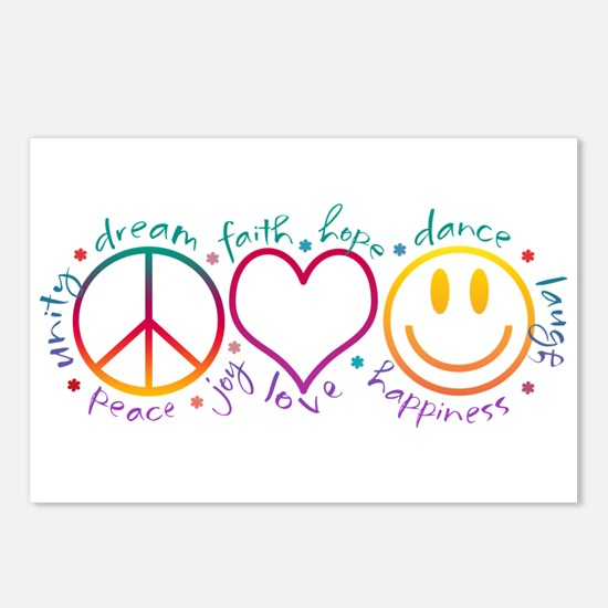Peace Love Laugh Postcards (Package of 8)