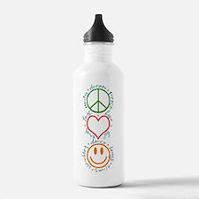 Peace Love Laugh Sports Water Bottle