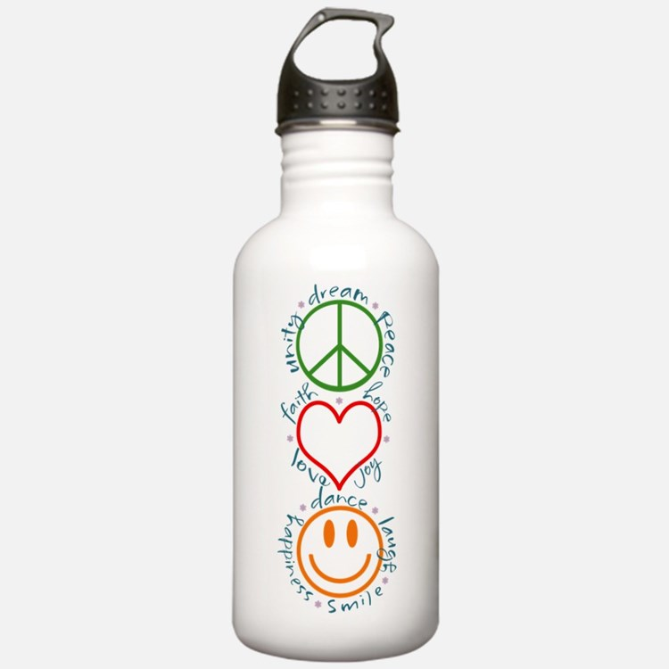 Peace Love Laugh Sports Water Bottle