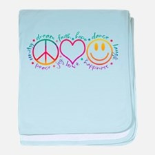 Peace Love Laugh baby blanket