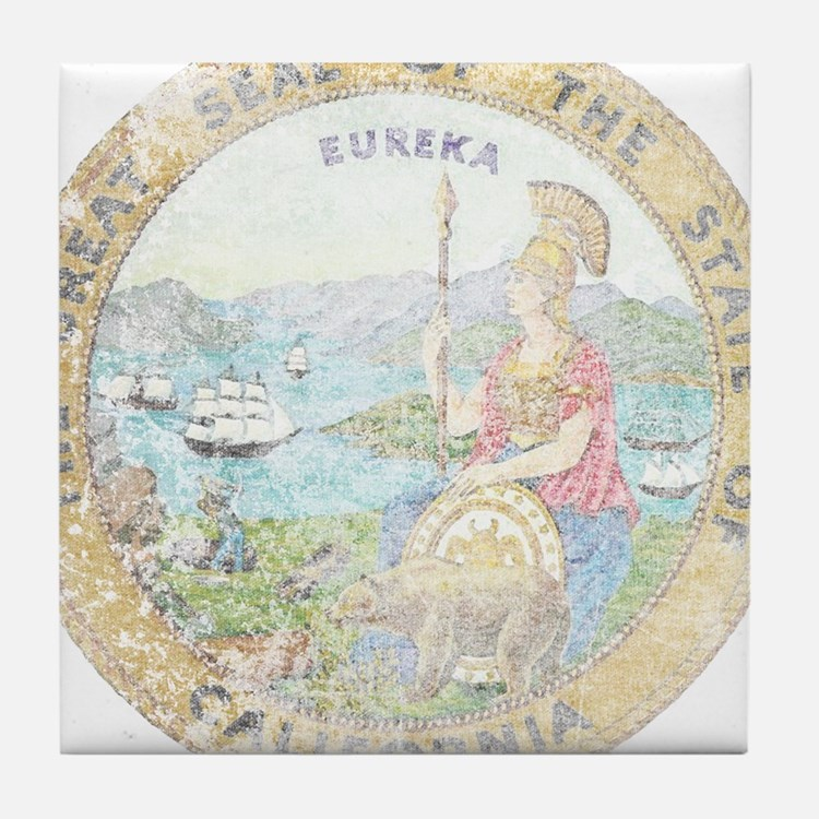 Vintage California Seal Tile Coaster