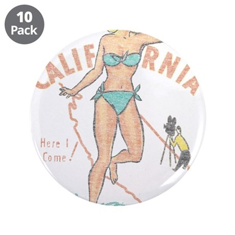"Faded Vintage California Pinup 3.5"" Button (10 pac"