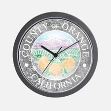 Faded Orange County Wall Clock