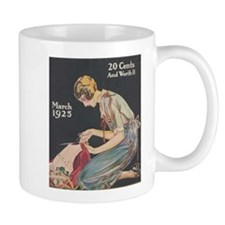 Woman, Seamstress, Vintage Poster Small Mugs