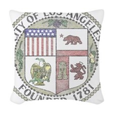 Vintage City of LA Woven Throw Pillow