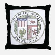 Vintage City of LA Throw Pillow