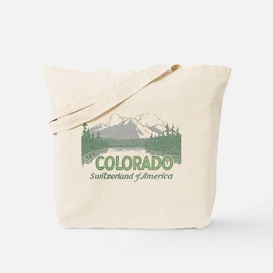Vintage Colorado Mountains Tote Bag