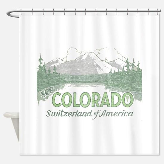 Vintage Colorado Mountains Shower Curtain