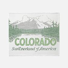 Vintage Colorado Mountains Throw Blanket