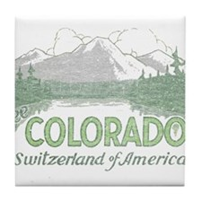 Vintage Colorado Mountains Tile Coaster