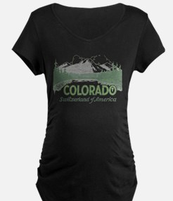 Vintage Colorado Mountains Maternity T-Shirt