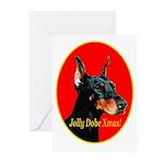Jolly Dobe Xmas Greeting Cards (Pk of 10)