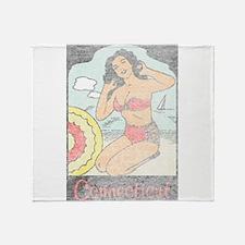 Vintage Connecticut Pinup Throw Blanket