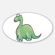 Cute Brontosaurus Oval Decal