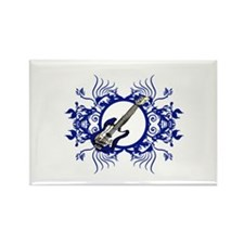 Blue Bass Blue Floral Circle Design Rectangle Magn