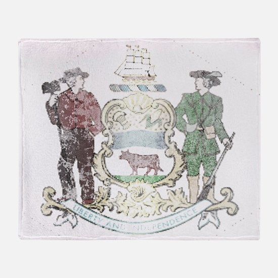 Vintage Delaware State Flag Throw Blanket