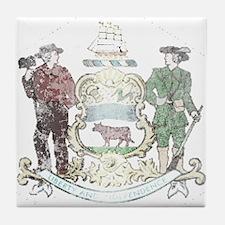 Vintage Delaware State Flag Tile Coaster