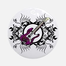 Purple Bass Black Floral Circle Design Ornament (R