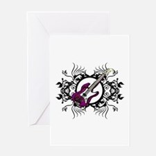 Purple Bass Black Floral Circle Design Greeting Ca