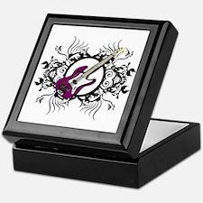 Purple Bass Black Floral Circle Design Keepsake Bo
