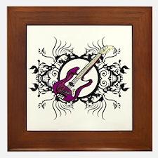 Purple Bass Black Floral Circle Design Framed Tile