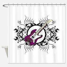 Purple Bass Black Floral Circle Design Shower Curt