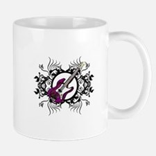 Purple Bass Black Floral Circle Design Mug