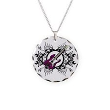 Purple Bass Black Floral Circle Design Necklace