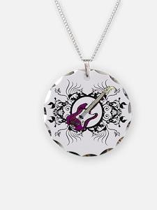 Purple Bass Black Floral Circle Design Necklace