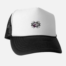 Purple Bass Black Floral Circle Design Trucker Hat