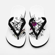 Purple Bass Black Floral Circle Design Flip Flops