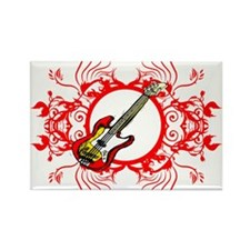 Red Bass Floral Circle Design Rectangle Magnet