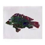 Bright Fish Print Throw Blanket