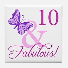 Fabulous 10th Birthday Tile Coaster