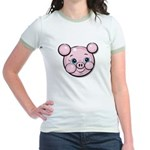 Pink Pig Cute Face Cartoon Jr. Ringer T-Shirt